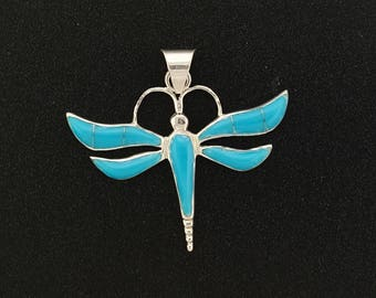 Turquoise Dragonfly Pendant-sterling silver