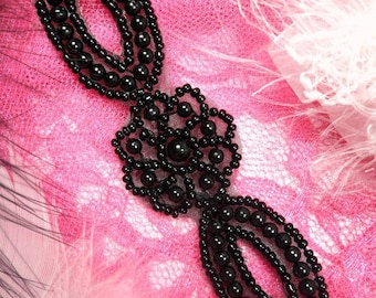 """XR96 Black Pearly Flower Beaded Applique 5"""""""