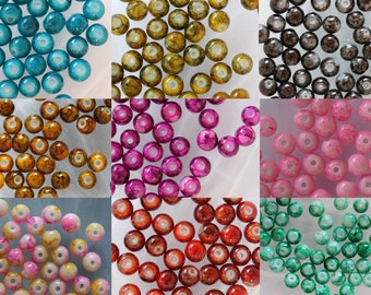 Lot 10 x round speckled glass bead