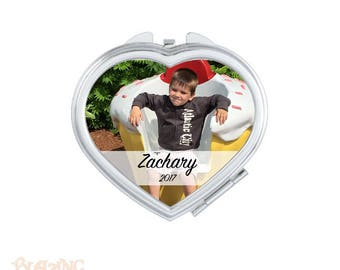 Personalized Compact Heart Mirror