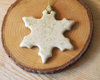 Christmas snowflake decoration -Gold Christmas ornament -Clay decoration with gold glitter -