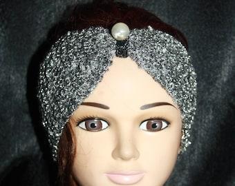 headband silver lurex thread