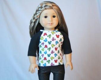 18 Inch Doll Shirt, Cartoon Mouse Shirt,  fit American Girl Doll, 18 inch Doll Clothes,  American Doll T-shirt, comfy t-shirt