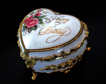 Heart Music Box Enamel and Gold Happy Birthday Valentine Hollywood Regency Made in Japan