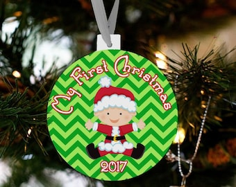 My first Christmas baby claus custom ornament - great new baby Christmas gift FCBCO