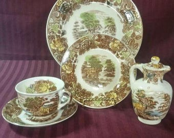 Vintage Nasco china replacement dishes. Buyer's choice. Mountain Wood Land pattern