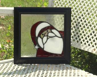 Stained Glass Mosaic Peeking Santa Framed Frost