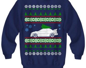 Subaru Impreza RS Ugly Christmas Sweater 22b Sweatshirt JDM all wheel drive subie holidays drift rally race track turbo