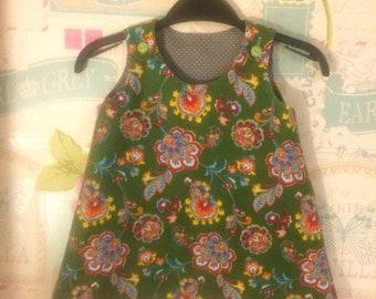 Reversible Girls Pinafore Dress