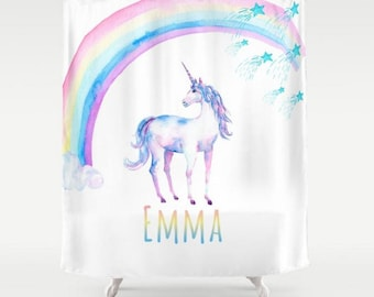 Kids Unicorn and Rainbows Custom Personalized Shower Curtain Your Name Quote Saying Personalized Home Bathroom Decor