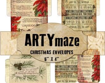 "3 Printable CHRISTMAS Envelopes & Matching Journaling cards 6"" x 4"""