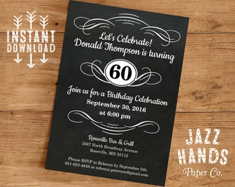 Vintage Adult Birthday Invitation Template | DIY Printable | 30th, 40th, 50th, 60th, 70th, 80th Birthday Party | Instant Download