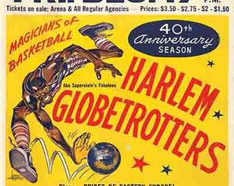 Vintage Style Harlem Globetrotters Basketball show  16x20   1960's   Hershey PA art print