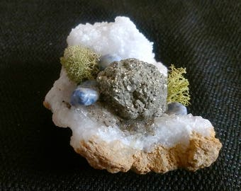 Quartz Crystal Cluster with Pyrite and Sodalite Crystal, Meditation Stone, Sodalite Stone, Pyrite Stone, Pyrite Cluster, Quartz Geode