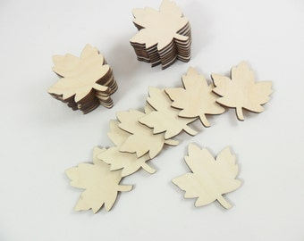 "Wood Leaves Maple Leaf Blanks Laser Cut Wood Shapes 1 1/2"" H x 1 3/8"" W - 12 Pieces"