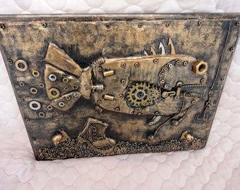 Key holder steampunk fish,key holder under bronze,steampunk fish