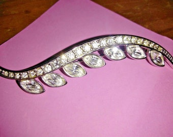"Stunning Estate find  Vintage Signed Monet Silver Tone and Crystal Brooch Pin 3"" long"