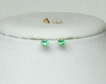 Emerald Earrings, Gemstone Studs, Green Earrings, Studs, Genuine Emerald, Emerald Studs, Gemstone Studs, Green Studs