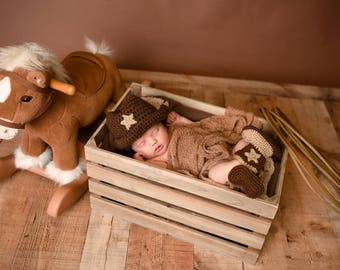 Baby Cowboy Set - Baby Cowboy Costume - Baby Cowboy Boots - Baby Cowboy Hat - Cowboy Costume - Gift for New Mom - Baby Reveal