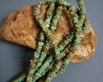 """Gorgeous/ Turquoise Beads/16"""" full strand/Green-brown-blue magnesite small beads/Magnesite chips/Irregular shape beads"""