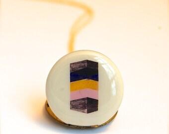 Vintage Locket Necklace Geometric Art Original Artwork Alyson Fox Pastels Blocks Tower Custom Jewelry Photographs Quote Jewellery Locket