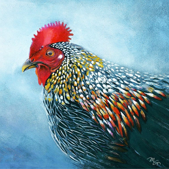 Vogel-Aquarell Huhn-Kunst-Druck. Natur-Tiere-Illustration.