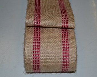 10 yards Red Stripe Burlap Jute Webbing for Crafts Furniture