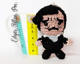 Edgar Allan Poe amigurumi keychain doll crochet