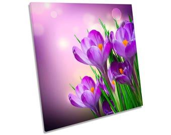 Crocus Spring Flowers Floral Purple CANVAS WALL ART Square Print