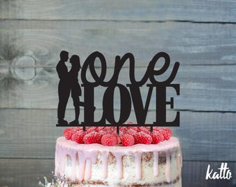 Anniversary cake topper- Silhouette Cake Topper- Personalized cake topper- Personalized wedding Cake Topper- One Love cake topper