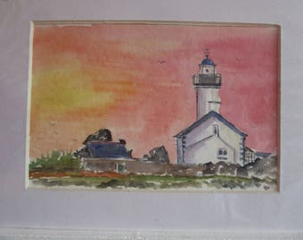original watercolor painting of the lighthouse Pontusval
