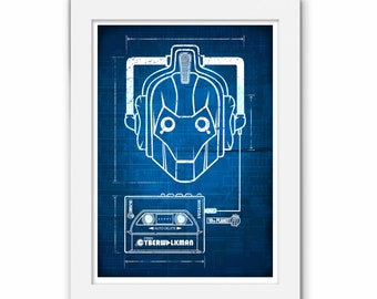 Doctor Who CyberWalkman Print, Cyber Man 80s Walkman Illustration, Dalek Design, Tardis Art