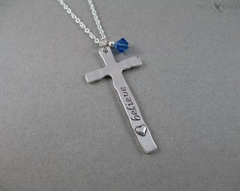 Reversible Believe Faith Silver Cross Necklace - Christian Gift - Christian Jewelry