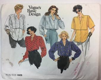 80's Vintage, Vogue Blouse Pattern, Vogue 1609, Loose Fitting shirt, Dropped Shoulders, Yoke, Basic Design, Pattern Size 8,10,12 Uncut