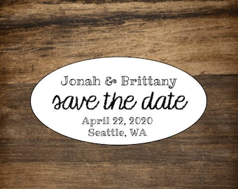 "Save the Date labels, 2"" x 1"" Oval, set of 27 personalized stickers.  Matte white or Kraft brown. Envelope seal, wedding stickers, STD."