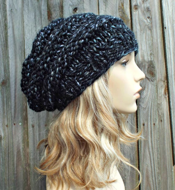 Metropolis Black and White Knit Hat Black Womens Hat - Original Beehive Beret - Black Hat Black Beret Black Beanie Winter Hat