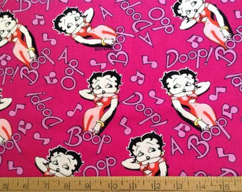 Betty Boop/glamour girl on hot pink background  cotton fabric by the yard