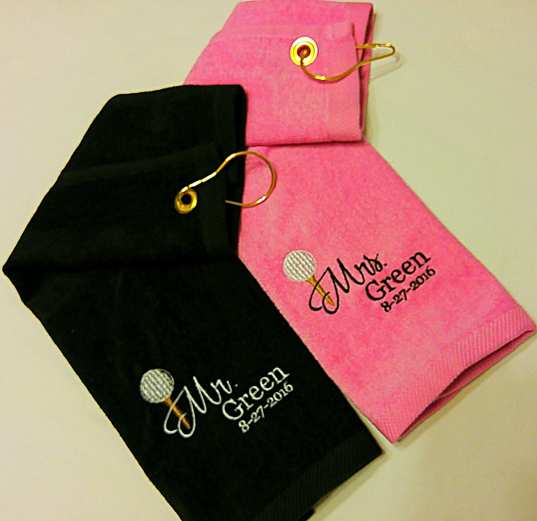 Wedding MR. & MRS. Customized PERSONALIZED Velour Golf Towel