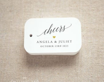 Cheers Calligraphy Wedding Favor Tags, Personalized Gift Tags,Bridal Shower,Thank you tags, Custom Gift Tags - Set of 24 (Item code: J712)