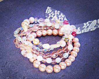 Pink Multistrand Stretch Bracelet - Jewellery Jewelry For Women Teens Girls - Strawberries and Cream Pastel Pearls - Semiprecious Freshwater