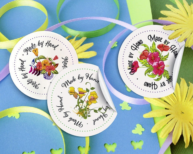"""Floral """"Made by Hand"""" Stickers, Printable PDF, 3 Styles, 12 Per Sheet – Vector PDF and PNGs – DIY Printables – Clip Art – Handmade Supply"""