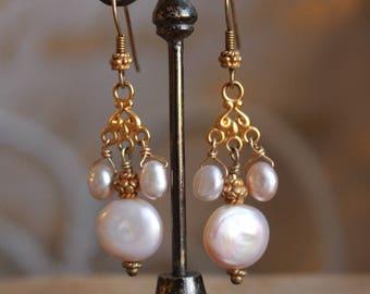 Keshi Pearl earrings 14karat gold