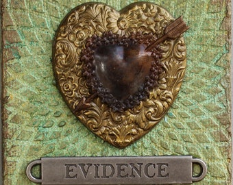 Mixed Media Heart Art with Easel - Valentine Assemblage Art - 3D Valentine Art - Original Collage - Hearts Wall Art - Mixed Media Assemblage