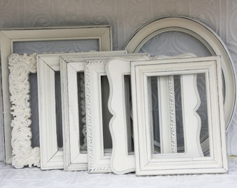Picture Frame Set Of Five Shabby Chic Vintage Hand Painted & Distressed