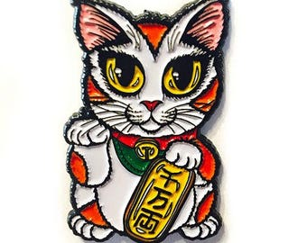 Chat porte-bonheur émail broche Maneki-Neko chance chat revers broche chat Calico insigne bonne chance chat broche cadeau pour les amateurs de chat bijoux