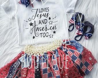 Patriotic Set ~ Bodysuit ~ Rag Skirt ~ Barefoot Sandals ~ Bow ~ 4th of July ~ Photo Prop ~ Toddler ~ Baby Girl