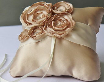 Wedding Champagne And Ivory Satin Ring Bearer Pillow More Colors Available