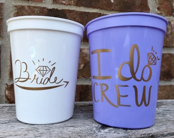 I Do Crew Cups   Bachelorette Party Cups 16 0z   Bridal Party Stadium Cups   Light Purple I Do Crew Cup ON SALE!!!
