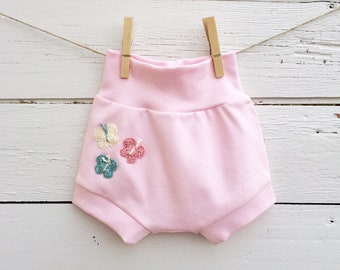 Butterfly Baby Shorts, Shorties, Pink Baby Shorts, Diaper Cover, Baby Bloomers, Toddler Shorts, Summer Shorts, Baby Girl Clothes