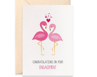Flamingo Engagement Card, Card for Engagement, Congratulations On Your Engagement Card, Flamingos Card Engagement, Greeting Card, ENG023